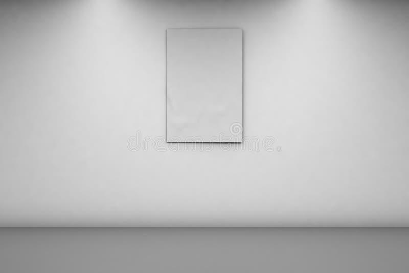Tomt baner 2 x 3 på en vit vägg Vertikalt baner i ett tomt rum 3d tolkning, fr?mre sikt stock illustrationer