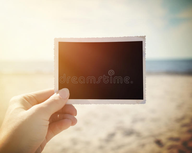 Tomt bildfotominne på Sunny Beach fotografering för bildbyråer