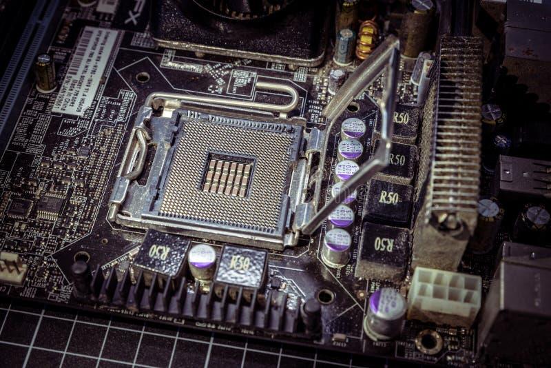 Tomt bräde för moder för CPU-processorhålighet arkivfoton