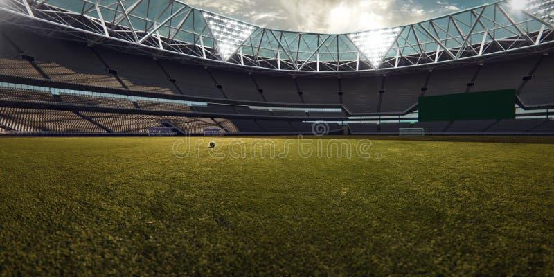 Tomt fält för stadionarenafotboll royaltyfri foto