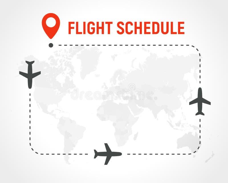 Tomt flygschema, gräns av ramen på politisk världskartabakgrund Flygplanrutt med nivåer på banan och stiftet på royaltyfri illustrationer