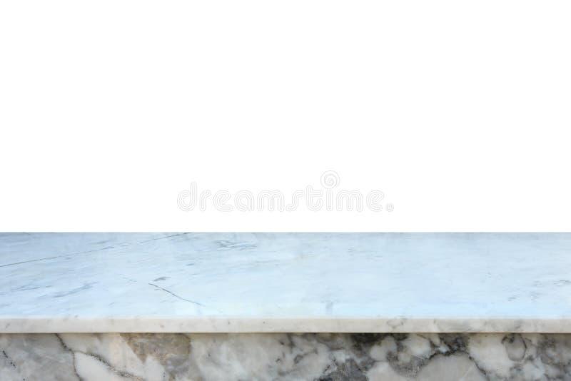 Tomt fritt utrymme av den bästa den marmorräknaren eller tabellen som isoleras på whit royaltyfri fotografi