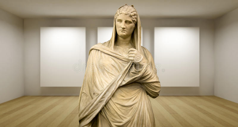 Lady tomt galleri, rum 3d med den grekiska sculturen, forntida staty royaltyfri illustrationer