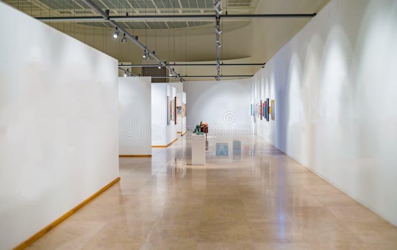Tomt galleriutrymme med vita väggar royaltyfria bilder