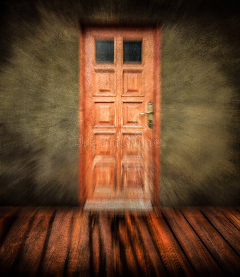Tomt gammalt grungerum med dörren - abstrakt sikt vektor illustrationer