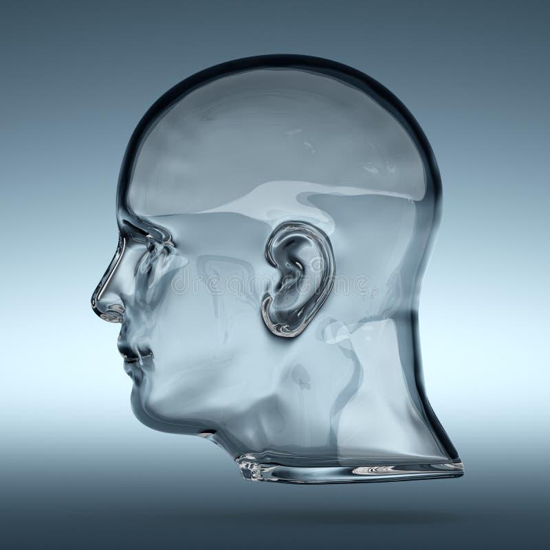 Tomt glass genomskinligt mänskligt huvud stock illustrationer