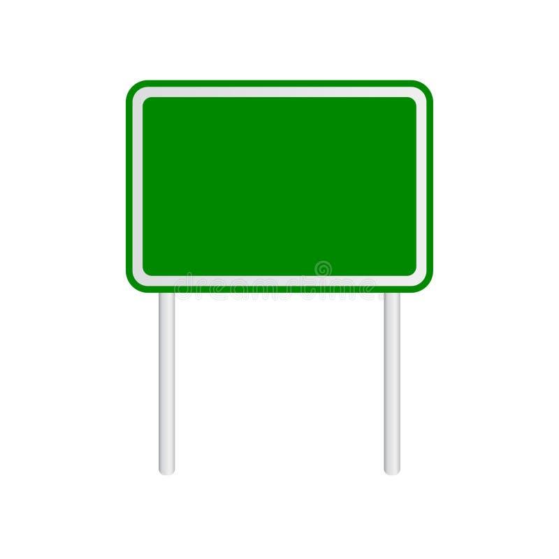 Tomt grönt trafikvägmärke på vit bakgrund royaltyfri illustrationer