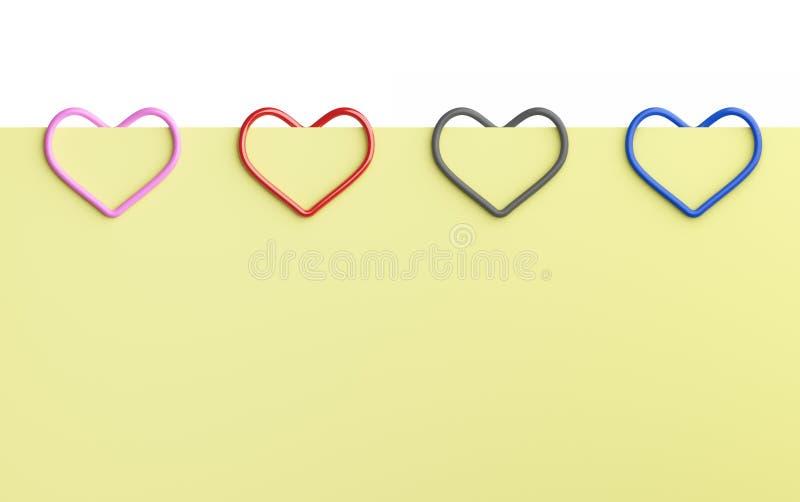 Tomt gult anmärkningspapper och färgrik hjärtaformgem som isoleras på vit bakgrund för kontorsaffärsidé som fästas till royaltyfri illustrationer