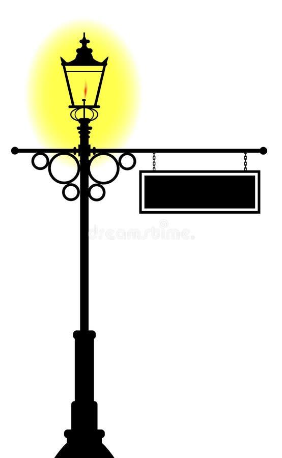 Tomt hängande lampstolpetecken stock illustrationer