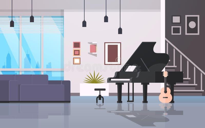 Tomt hus för modern hem- gitarr för korridormusikinstrumentpiano att hyra rum moderna den horisontallägenhetinre framlänges stock illustrationer