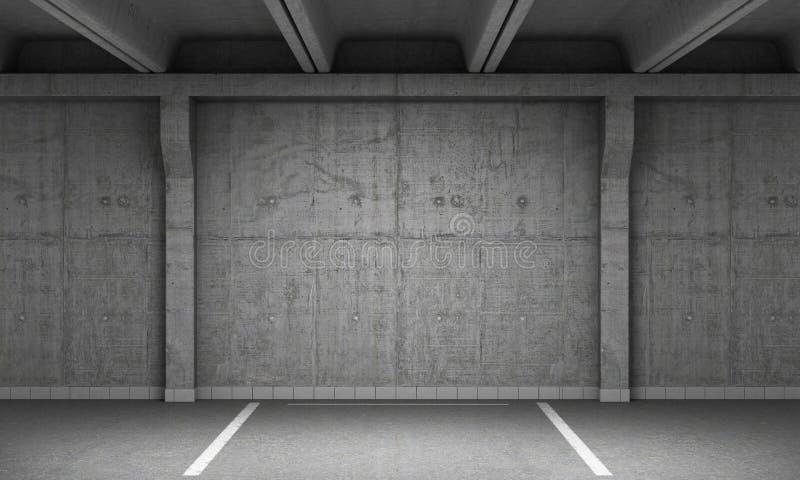 tomt industriellt lott för bakgrund som parkerar den stads- väggen Urban, royaltyfri illustrationer