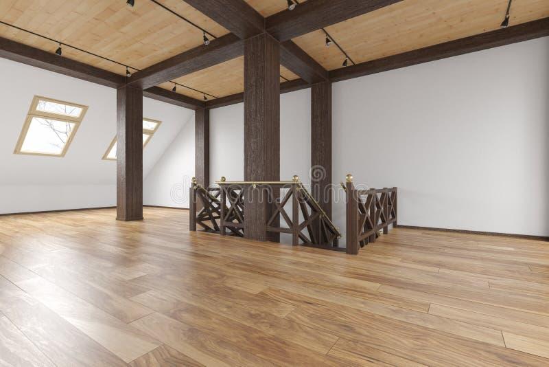 Tomt inre för loftvindöppet utrymme med strålar, fönster, trappa, trägolv royaltyfri illustrationer