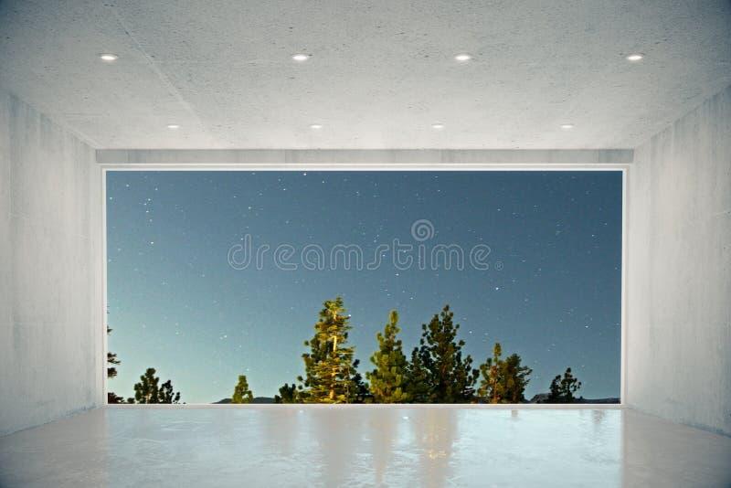 Tomt konkret rum med det stora fönstret med blå himmel och skogen tävlar vektor illustrationer