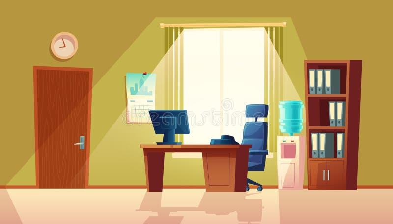Tomt kontor för vektortecknad film med fönstret, modern inre vektor illustrationer