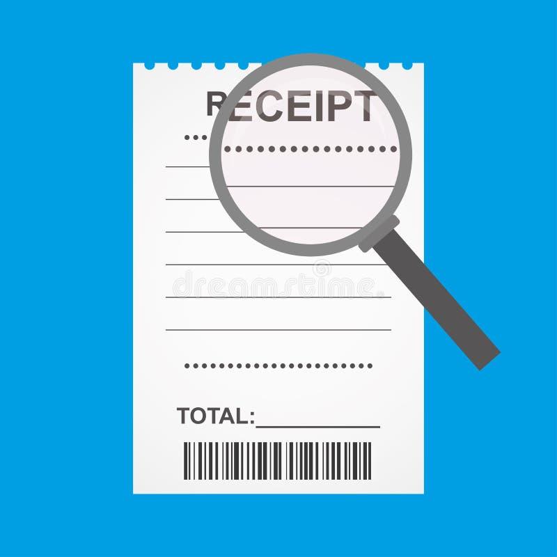 Tomt kvitto med barcoden och förstoringsglaset, royaltyfri illustrationer