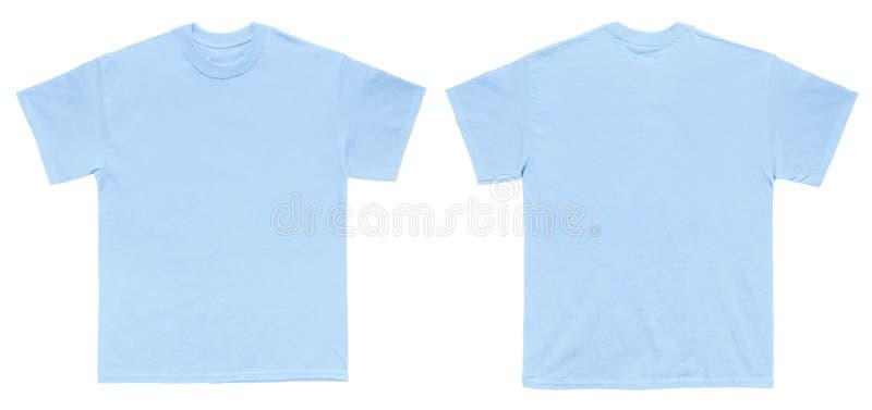 Tomt ljus för T-skjortafärg - blå mallframdel- och baksidasikt arkivfoto