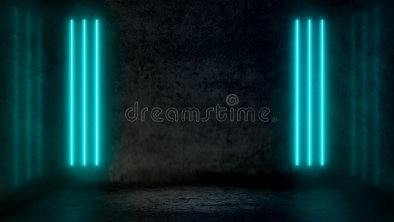 Tomt mörkt abstrakt rum med pastellfärgade blåa fluorescerande neonljus royaltyfri illustrationer