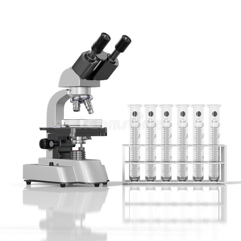 tomt mikroskop för laboratorium för whith för laboratoriumglasföremål på vit bakgrund stock illustrationer