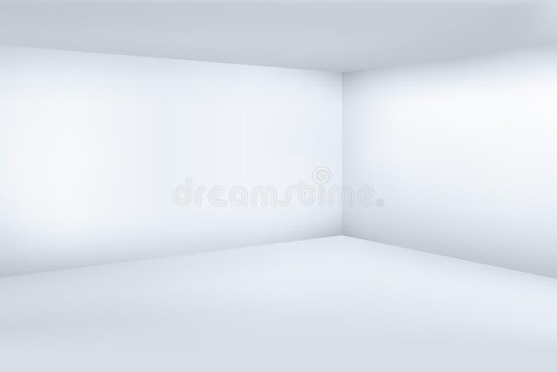 Tomt modernt rum för vit 3d med illustrationen för vektor för utrymmerengöringhörn royaltyfri illustrationer