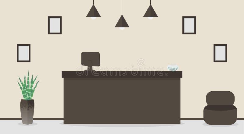 Tomt mottagandeskrivbord i hotellet eller banken, receptionistarbetsplats Väntande rum, korridor i affärskontoret, modern inre me vektor illustrationer