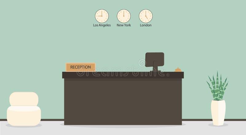 Tomt mottagandeskrivbord i hotellet eller banken, receptionistarbetsplats Väntande rum, korridor i affärskontoret, modern inre me royaltyfri illustrationer