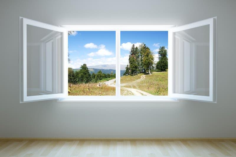tomt nytt öppet lokalfönster royaltyfri illustrationer