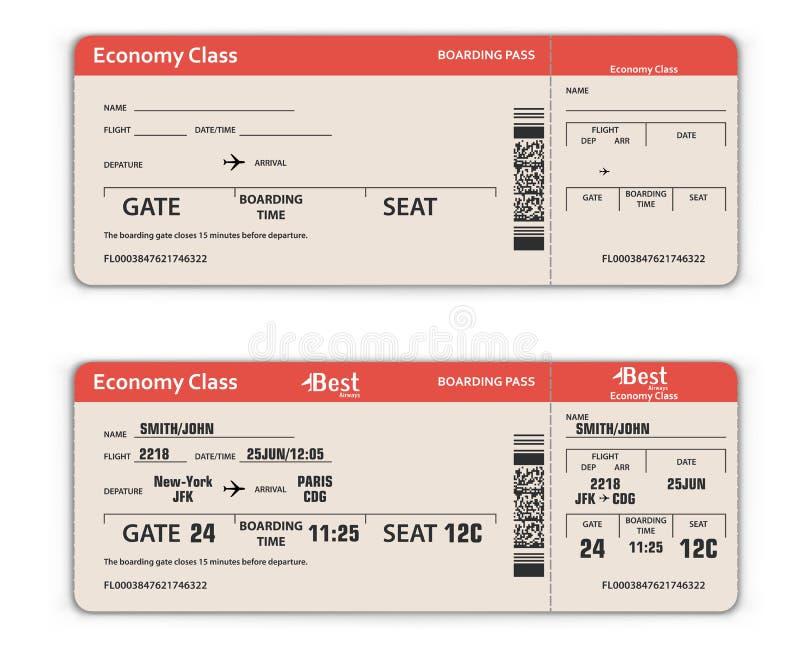 Tomt och fyllt i flygplatslogipasserande stock illustrationer