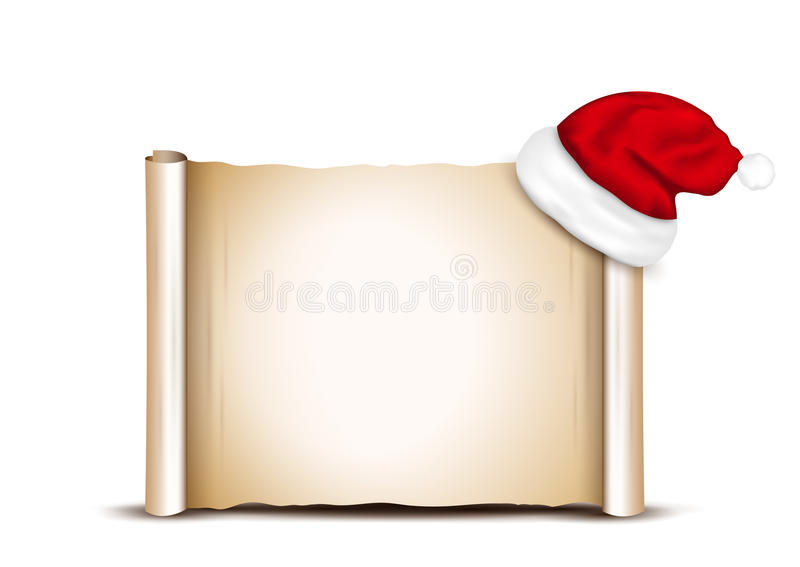 Tomt papper med Santa Hat royaltyfri illustrationer