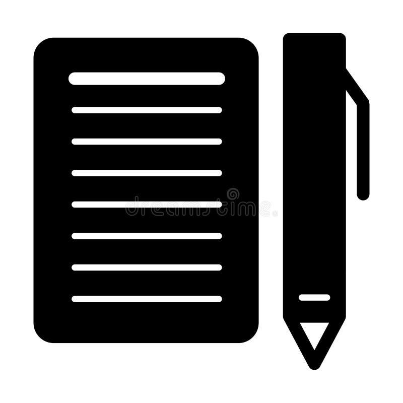 Tomt papper och en pennvektorsymbol Svartvit illustration av anteckningsboken och pennan Fast linjär symbol vektor illustrationer