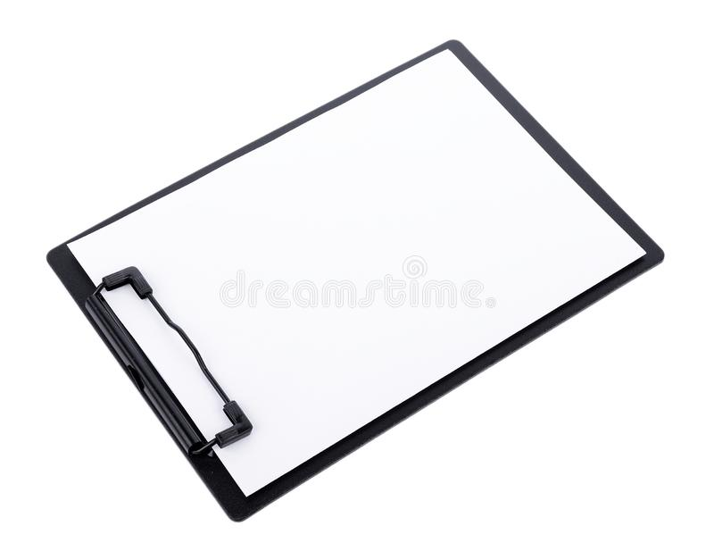Tomt papper på den svarta skrivplattan med utrymme på vit bakgrund royaltyfria foton