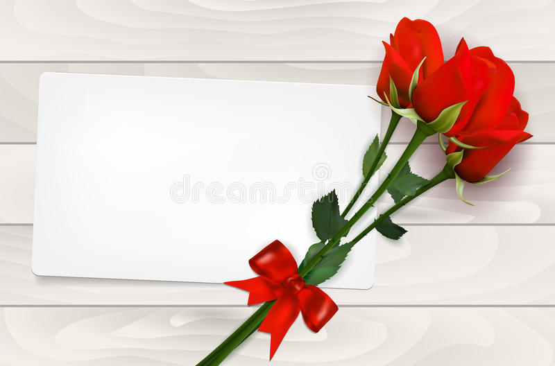Tomt pappers- kort och röda rosor på träbakgrund stock illustrationer