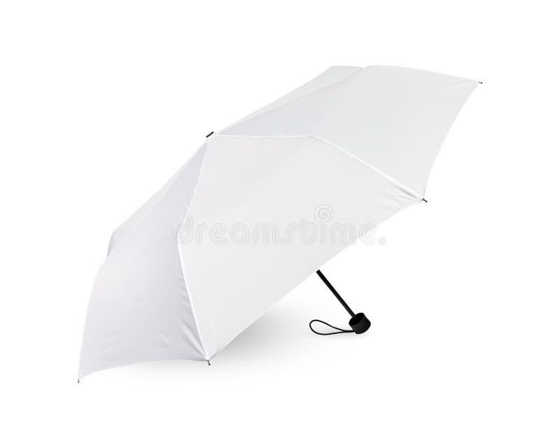 Tomt paraply som isoleras p? vit bakgrund B?rbar slags solskydd f?r skyddssol och regn r arkivbild