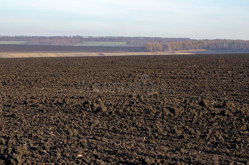 Tomt plogat fält som förbereds för den nya skörden, svart jord royaltyfri bild