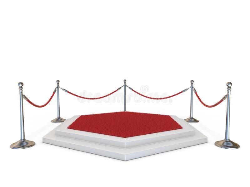 Tomt podium med röd matta 3D vektor illustrationer