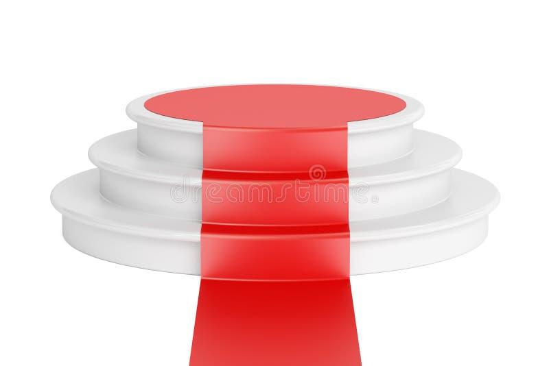 Tomt podium med röd matta, tolkning 3D royaltyfri illustrationer