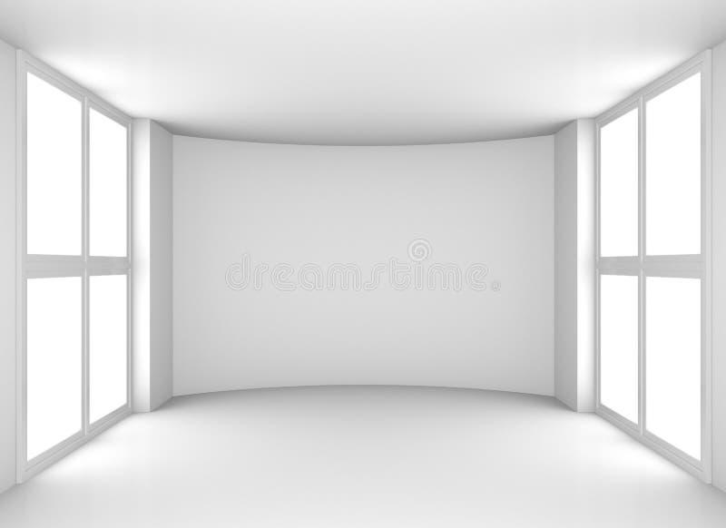 Tomt rent vitt rum med fönster fotografering för bildbyråer