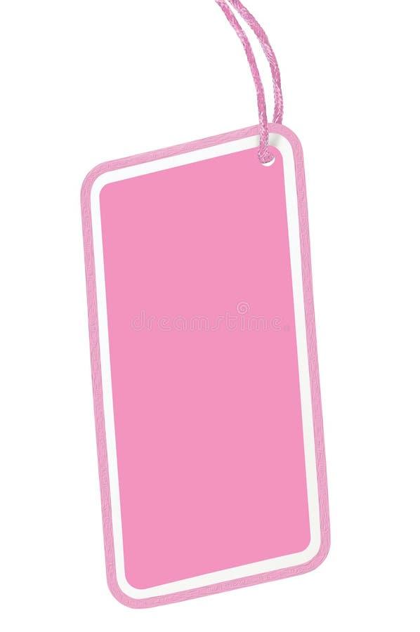Tomt rosa för Pricetag för etikett för pris för pappSale etikett tomt utrymme för kopia för Closeup emblem isolerat makro vertika arkivbild