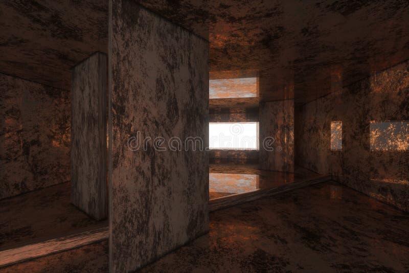 Tomt rostigt rum med ljus som kommer in från fönstret, tolkning 3d stock illustrationer