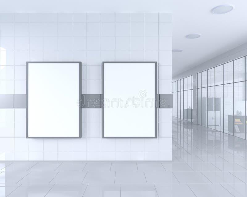 Tomt rulla upp banerställningen i ljus kontorsinre med den snabba banan runt om annonsställning illustration 3d stock illustrationer