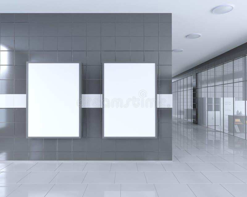 Tomt rulla upp banerställningen i ljus kontorsinre med den snabba banan runt om annonsställning illustration 3d royaltyfri illustrationer