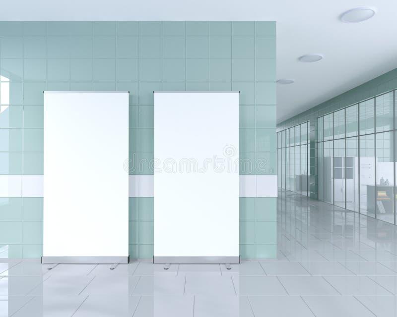 Tomt rulla upp banerställningen i ljus kontorsinre med den snabba banan runt om annonsställning illustration 3d vektor illustrationer