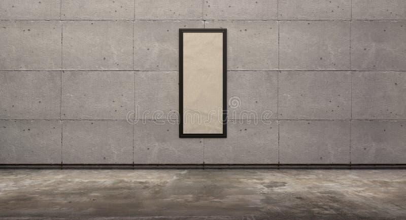 Tomt rum med betongvägg- och bildramen, grungegolv, tolkning 3d vektor illustrationer