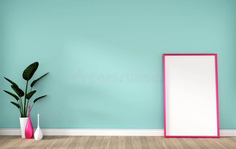 Tomt rum med den rosa ramen på tolkning för vägg 3D för ädelträgolv och mintkaramell stock illustrationer