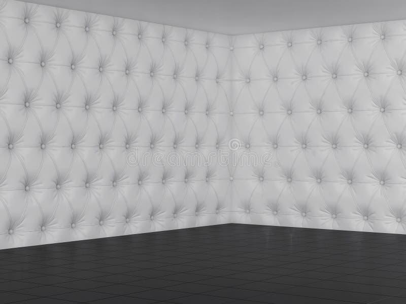 Tomt rum med den vita chester väggen och det svarta golvet 3d framför royaltyfri foto