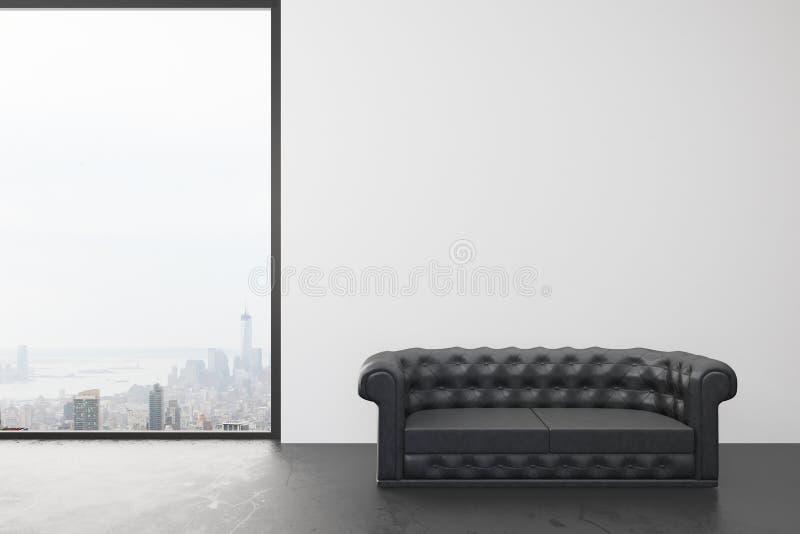 Tomt rum med den vita väggen, det stora fönstret med stadssikt och svart vektor illustrationer