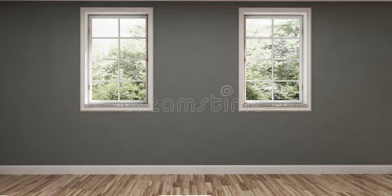 Tomt rum med gråa väggar och två fönster royaltyfri bild