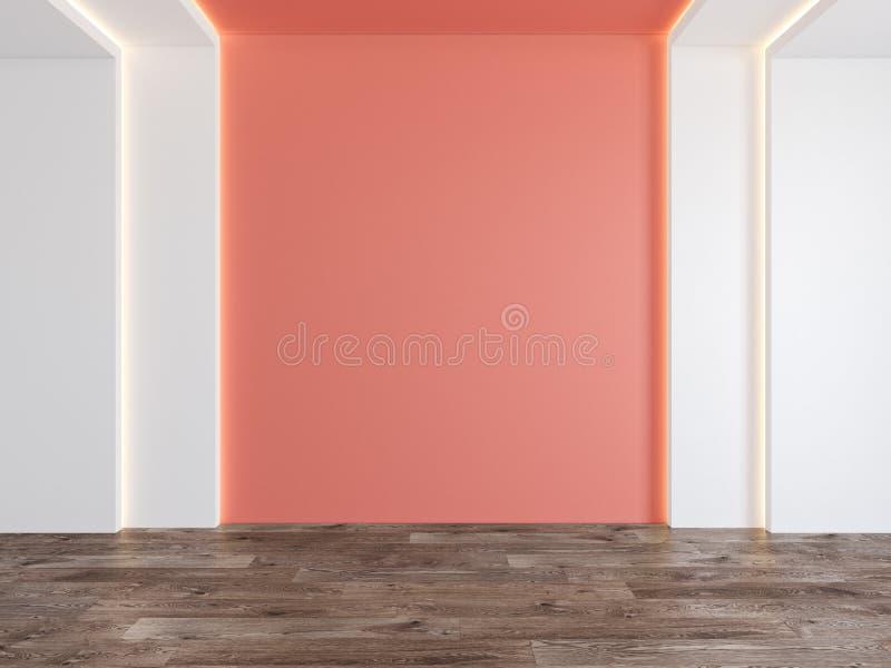 Tomt rum med korall, tom vägg för rosa färg, gömt ljus, parkettträgolv royaltyfria bilder