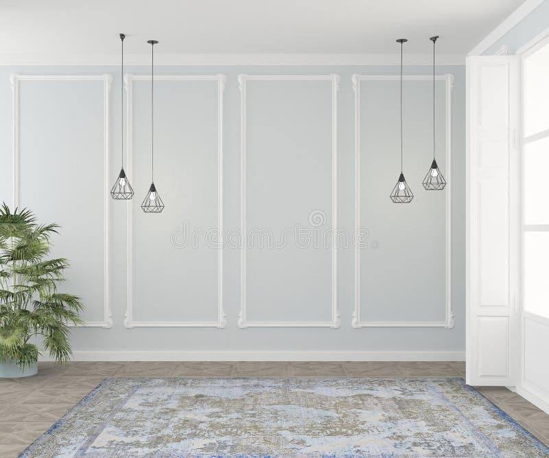 Tomt rum med stuckaturen, mattor, lampor och växter som, är falska upp för en soffa eller en stol Slapp fokus framf?rande 3d royaltyfri illustrationer