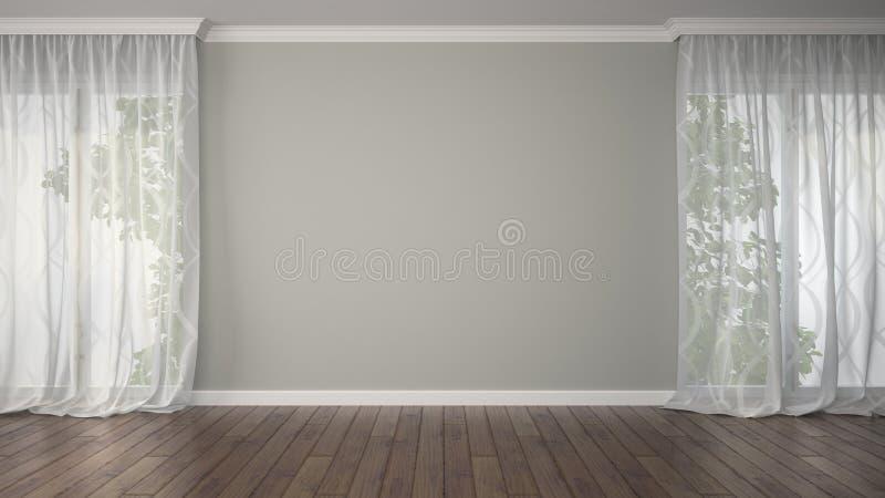 Tomt rum med två gardiner royaltyfri fotografi