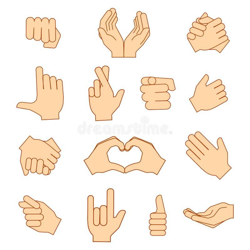 Tomt rymma för händer skyddar att ge gestsymbolsuppsättningen som isoleras på vit stock illustrationer
